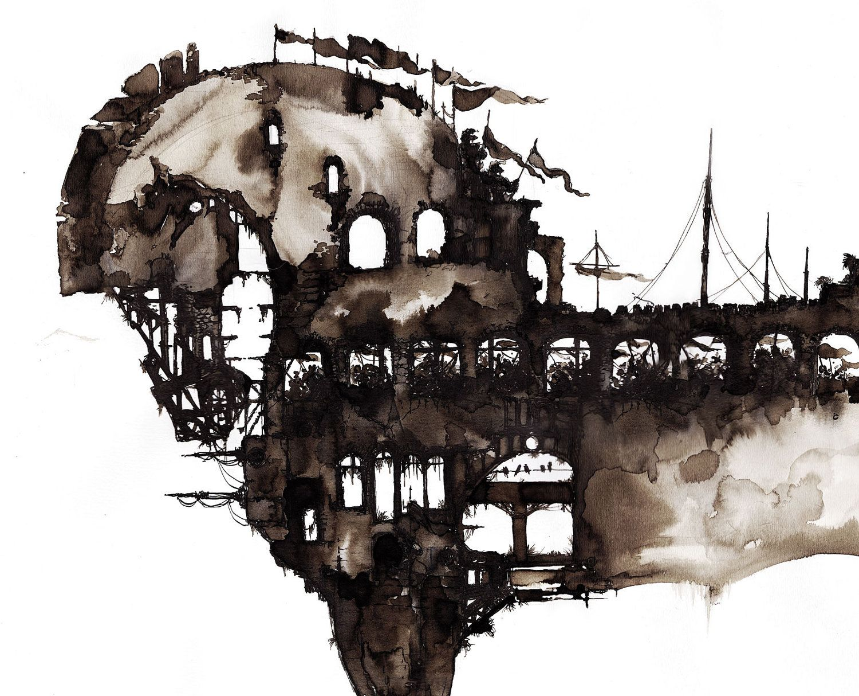 Original Painting Artwork Trojan Horse Watercolor Brown Ink