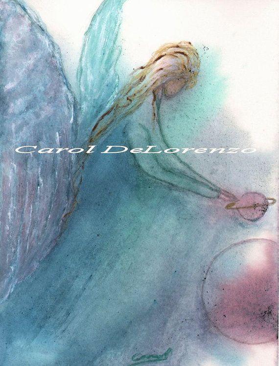 Watercolor Painting Angel Art Angel Painting by caroldelorenzo, $28.00