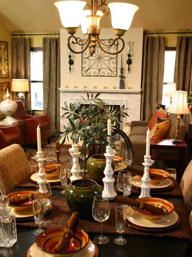 Candlesticks add an extra touch of elegance to this table setting.