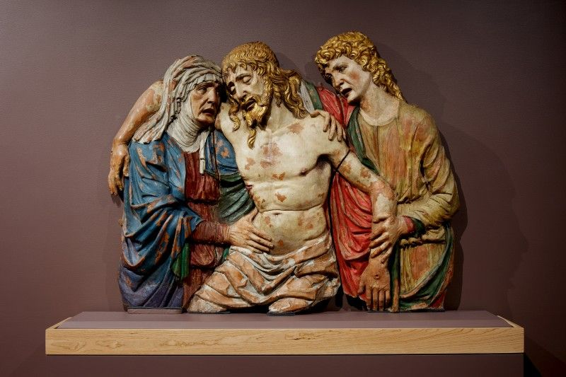 Isabella Stewart Gardner Museum : The Deposition of Christ with Carlotta of Lusignano about 1480 Giovanni de Fondulis, Italian (Padua)  Painted terracotta, height 124.5 cm