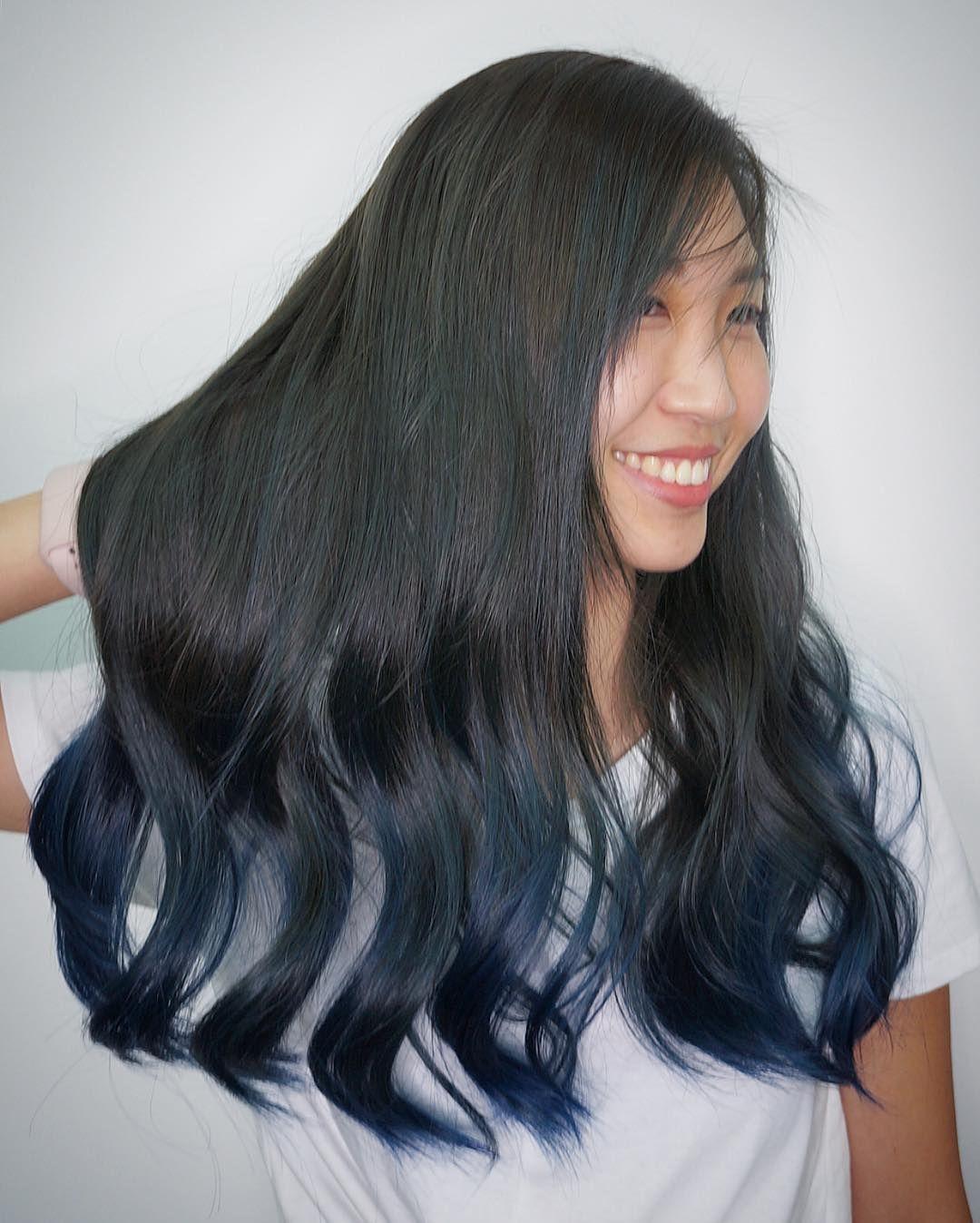 Deep blue ombré hair colour design a base of muted ocean turquoise ...