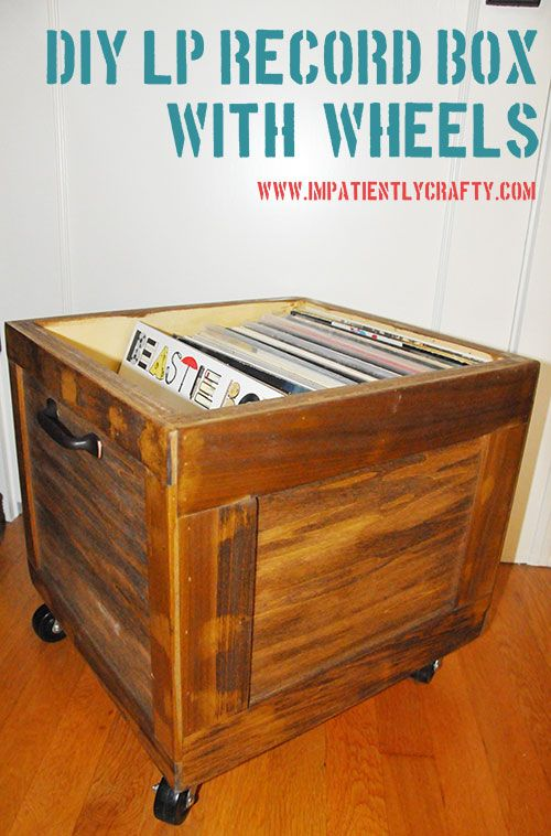 Diy Lp Record Storage Box On Wheels Record Storage Record Storage Box Vinyl Record Storage Diy