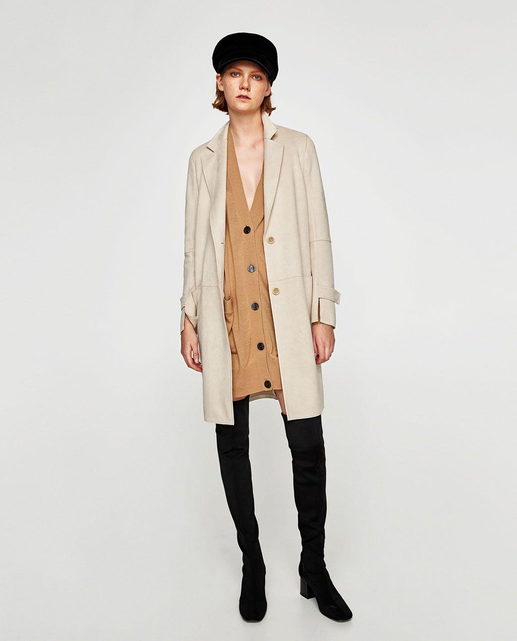 de ZaraStylesSuede DAIM coat Image 1 MANTEAU de EFFET wPyN8vnOm0