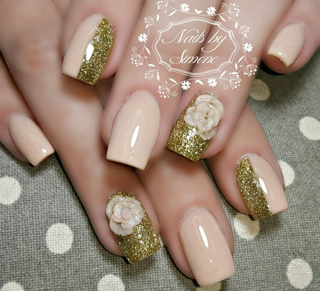Nude Gold Glitter Nails 3d Rose Roses Nail Art Nails By Simne