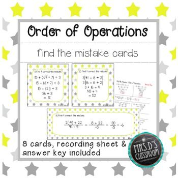 Order of Operations Find the Mistake Cards Recording sheets - order of operations worksheet