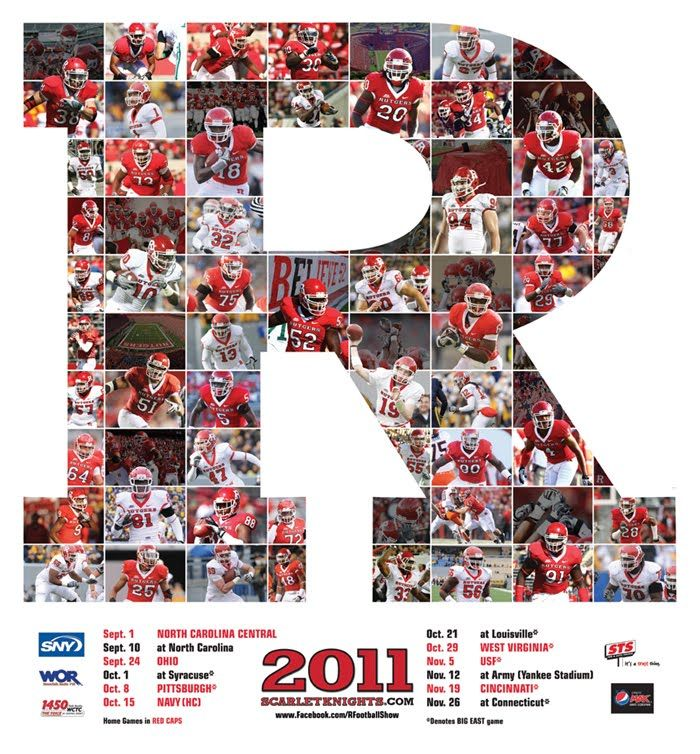 The Wiz Of Odds 2011 Poster Schedules Rutgers Football Football Sites Sports Design