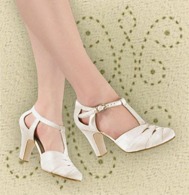 Aris Allen Ivory Satin 1930s T Strap DOrsay Bridal Dance Shoes For Narrow