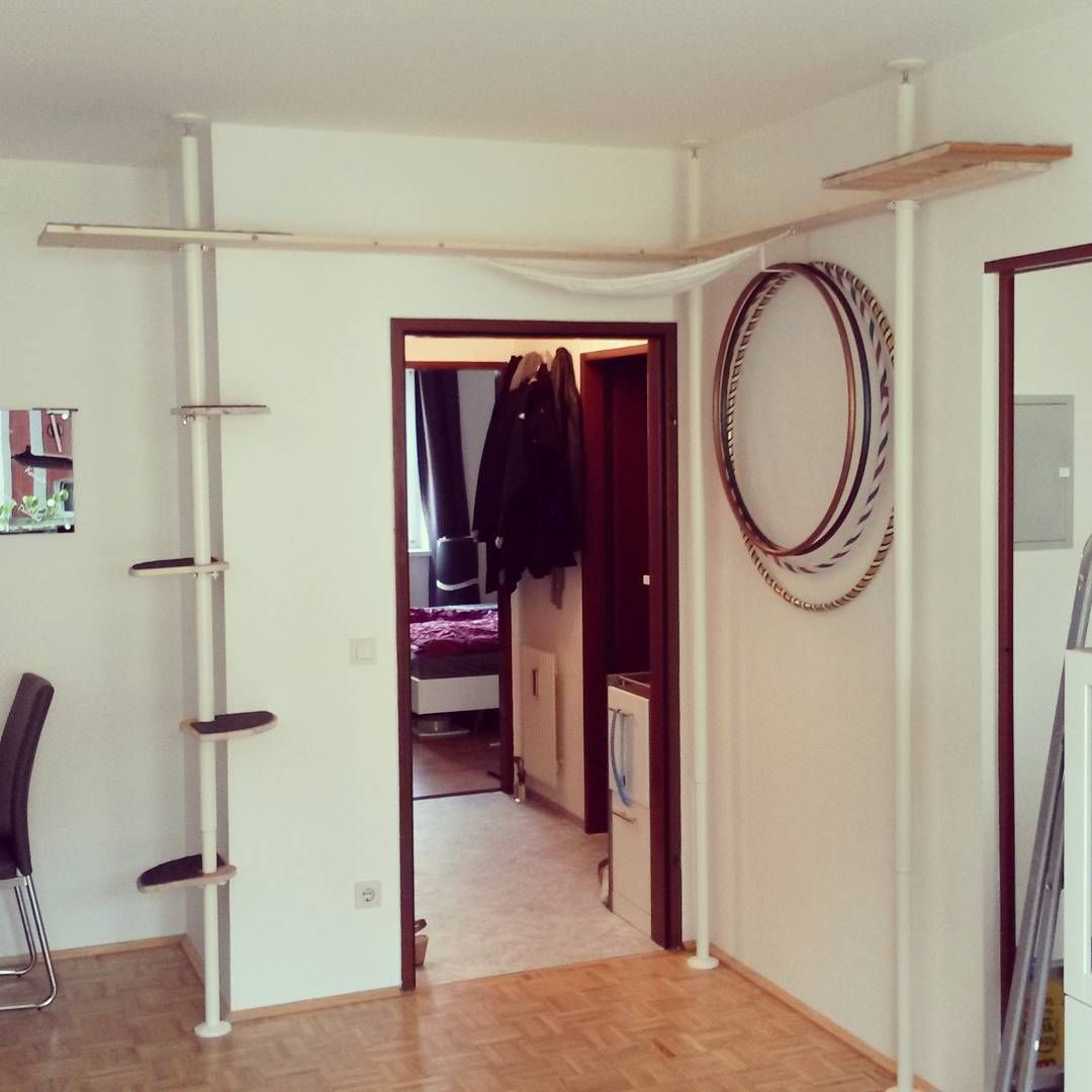 diy catwall catwalk made with ikea stolmen posts also including a diy cat hammock in the corner