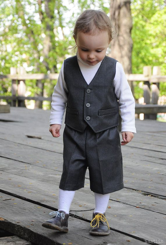 Boy Formal Wear Set Grey Ring Bearer Outfit Infant Vest And Shorts Wedding Clothes Toddler Birthday