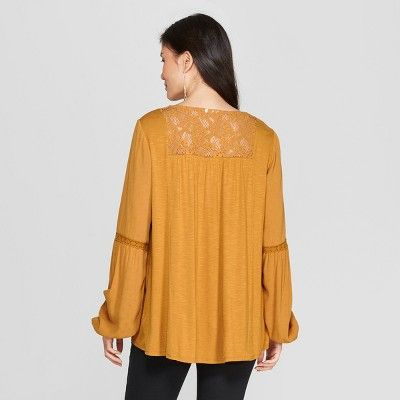 7d53abceda203a Women's Long Sleeve Lace Embroidered Peasant Top - Knox Rose Gold Xxl