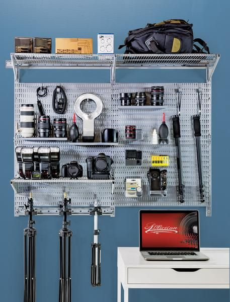image of allspace wall organizing system with camera equipment