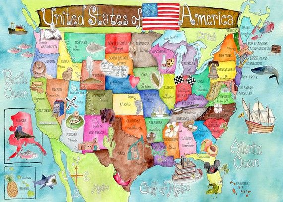 The Land Of Nod Kids Posters Prints Art Kids United States - Childrens us pushpin map
