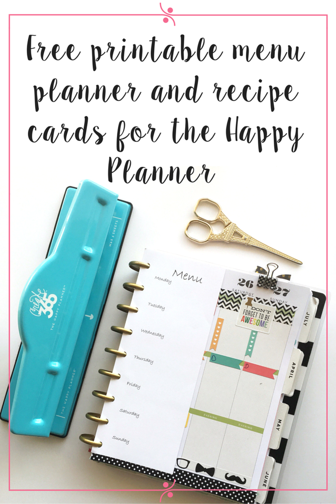 Menu Planner And Recipe Cards Printable For The Happy Planner