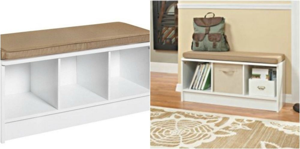 Entryway Wood Storage Bench White Cube Shoe Chest Modern Entry Bedroom  Furniture