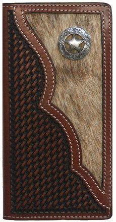 Leather Checkbook Cover Handmade Hair on Hide