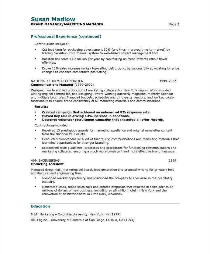 Marketing Manager Page2 Marketing Resume Marketing Manager Free Resume Samples