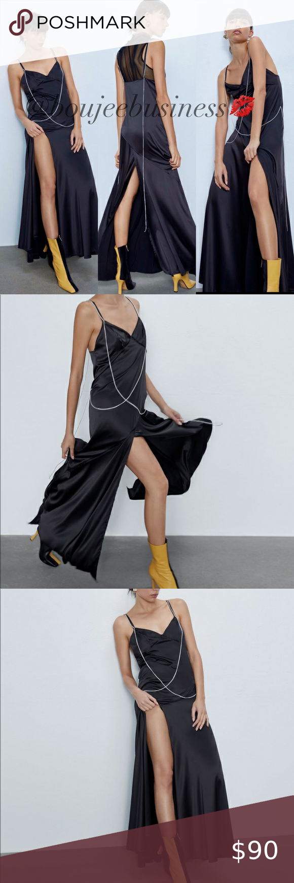 Zara Slip Dress With Chains Zara Slip Dress Maxi Dress With Sleeves Mini Shirt Dress [ 1740 x 580 Pixel ]