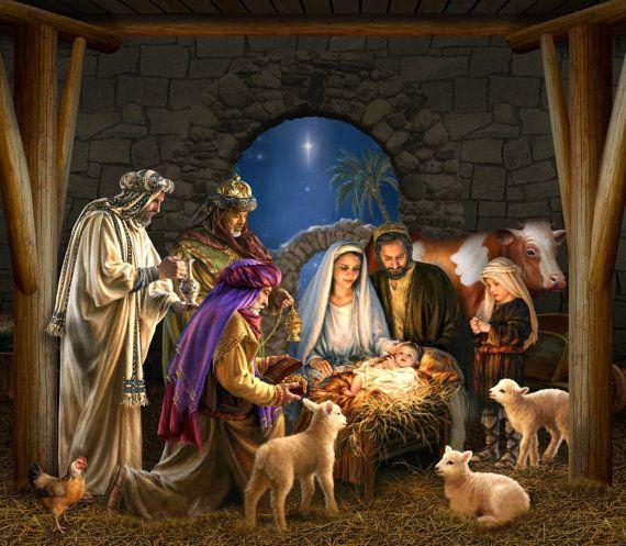 Outdoor Decoration Nativity Scene Garage Door Christmas