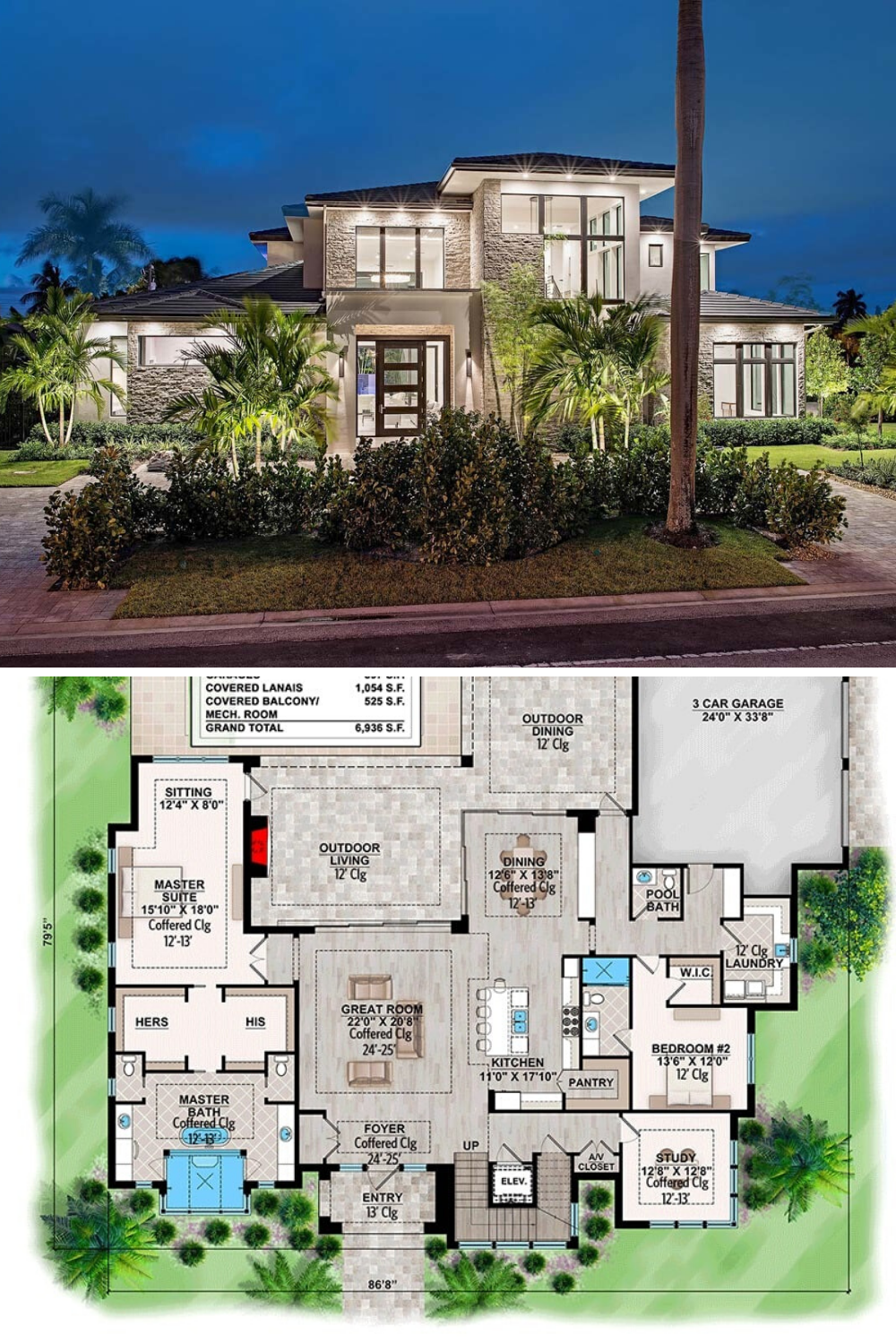 4 Bedroom Two Story Contemporary Home Floor Plan In 2020 Modern House Floor Plans House Layout Plans Modern Contemporary House Plans