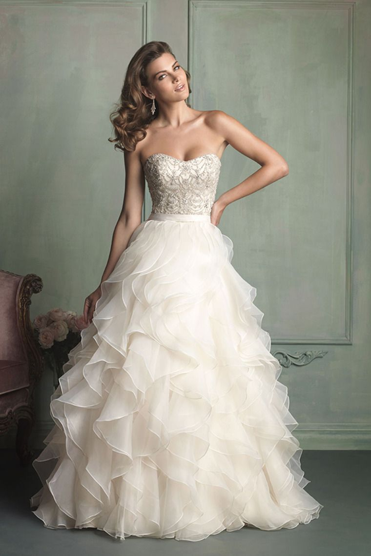 strapless ball gown wedding dress with ruffled organza skirt