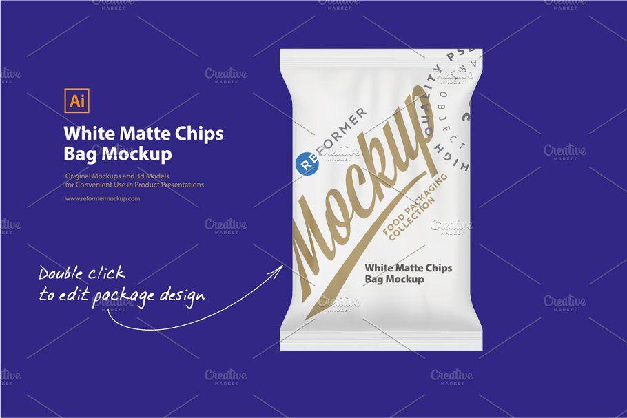 Download White Matte Chips Bag Mockup Sponsored Ad Site Great Creative Products Bag Mockup Portfolio Brochures Chip Bag