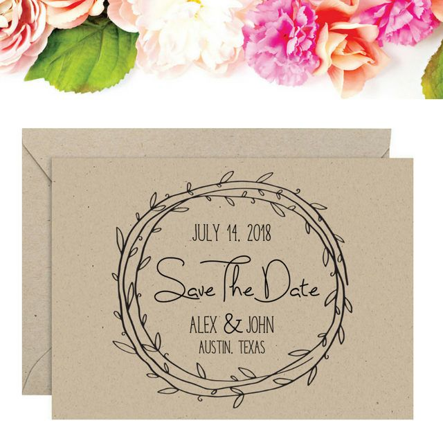 Save The Date Stamp - Rustic Wedding Save The Date Stamp - Save The Date Postcard Stamp - Wreath Wedding Stamp - Boho Save the Date Stamp by SouthernPaperAndInk on Etsy
