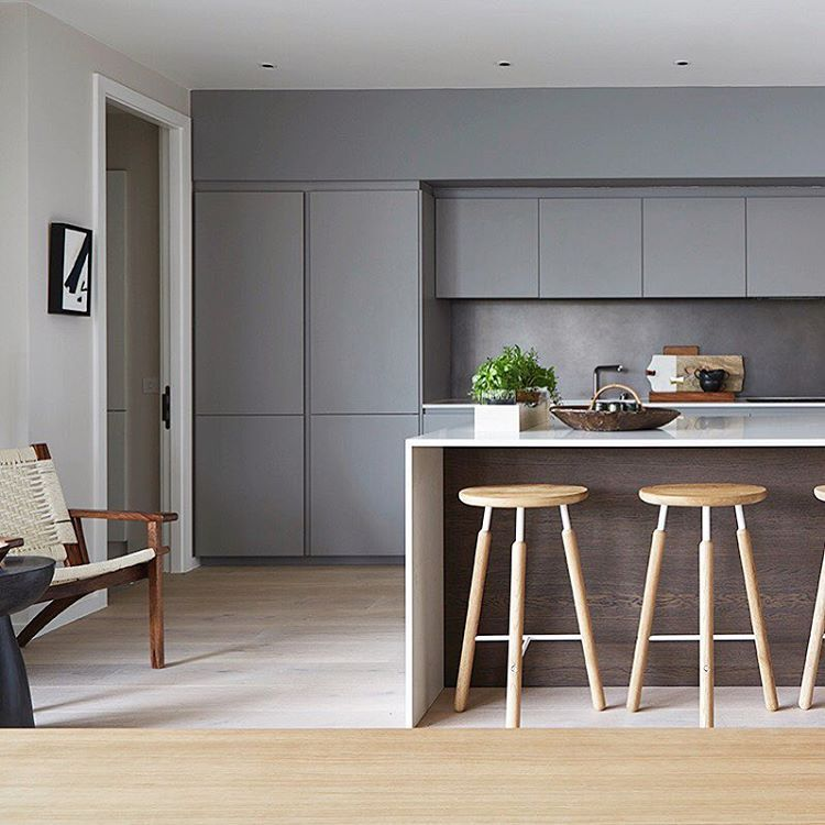 Best Grey Kitchen White Worktops Wooden Cladding On Island 400 x 300