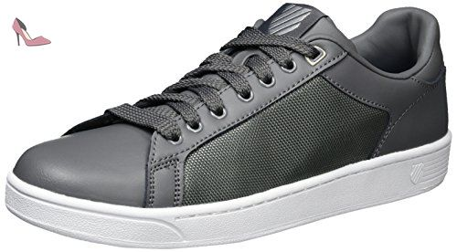 K-Swiss Clean Court CMF, Sneakers Basses Homme, Noir(Charcoal/Silver/White 012) - 42 EU