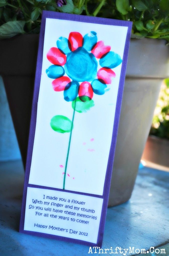 Card Making Ideas For Preschoolers Part - 42: Finger Print Flower And Poem ~ DIY Motheru0026 Day Card. Perfect For School  Craft Project, Boys Scout Mothers Day Gift Idea.