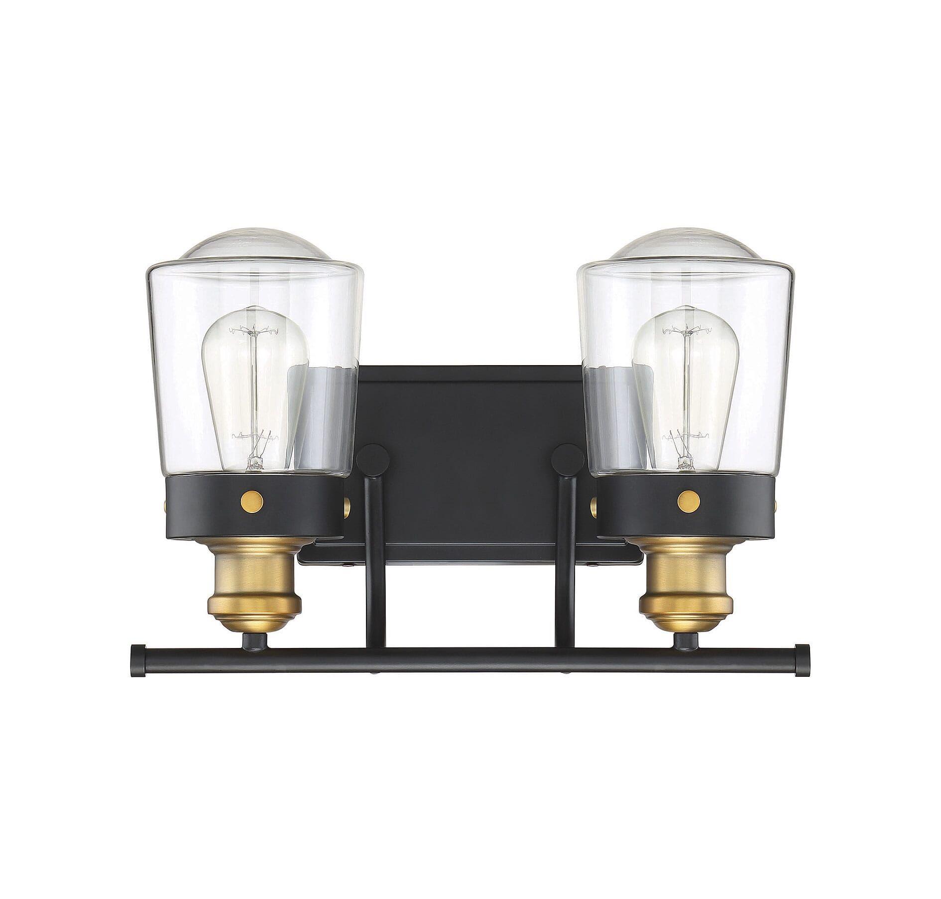 Photo of Savoy House Macauley 2-light bathroom vanity light in vintage black with warm brass