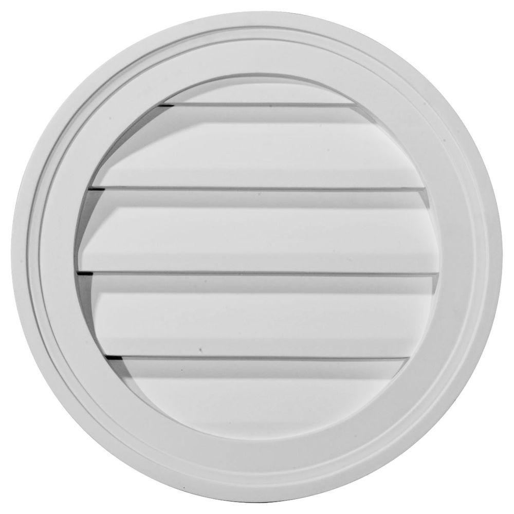 Ekena Millwork 12 In X 12 In Round Primed Wood Paintable Gable Louver Vent Gvro12d The Home Depot In 2020 Gable Vents Louver Vent Ekena Millwork