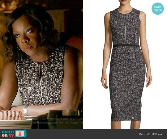 Annalise's black and white tweed zip front dress on How to Get Away with Murder.  Outfit Details: https://wornontv.net/61655/ #HTGAWM