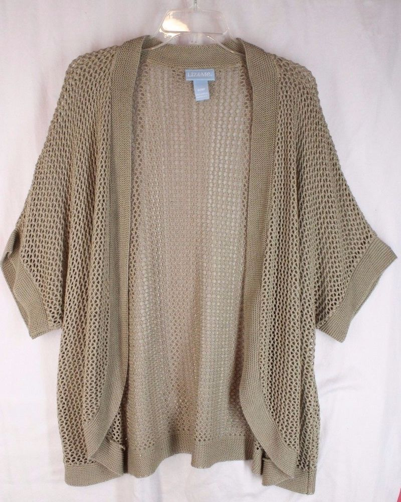Liz & Me Dark Beige Fishnet Vest Shrug Sweater 4X WP #LizMe ...