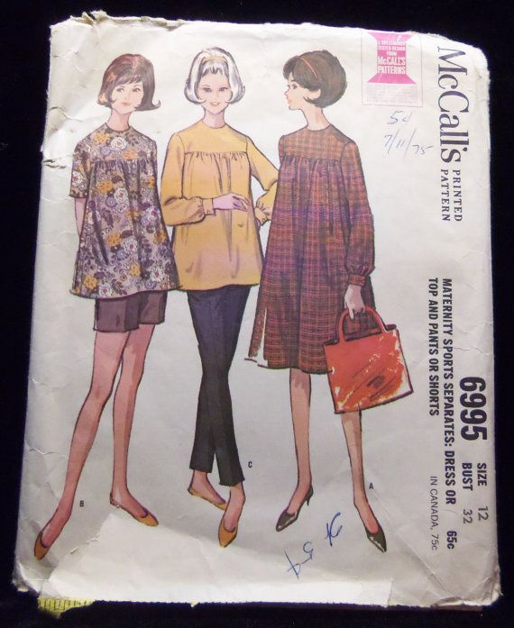 Maternity Dress or Top and Pants or Short McCall's 6995 1960s sewing patterns retro clothing vintage clothing sewing mad men size 12 Bust 32