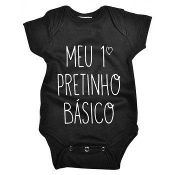Body Bebê Frase Primeiro Pretinho Básico Em Malha Nuvem Baby