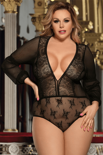 33e79d9946e Plus Size Black Sheer Long Sleeve Teddy in 2019