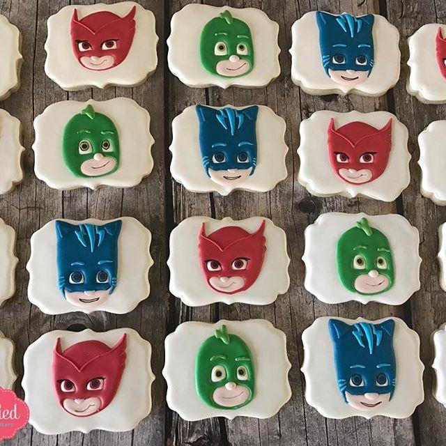 PJ Mask Birthday Cookies. #customcookies #sugarcookies