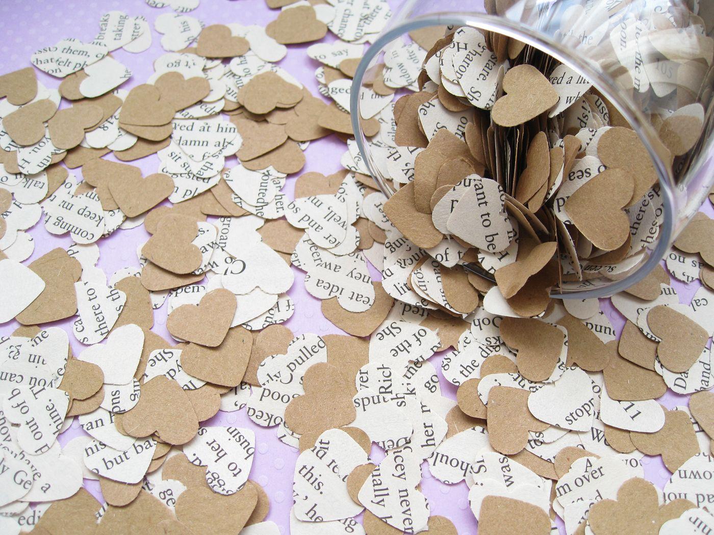 1000 Heart Novel and Kraft Confetti Mix - Romance / Alice in Wonderland / Jane Austen / Shakespeare / Harry Potter and more - Wedding Decor | wowthankyou.co.uk