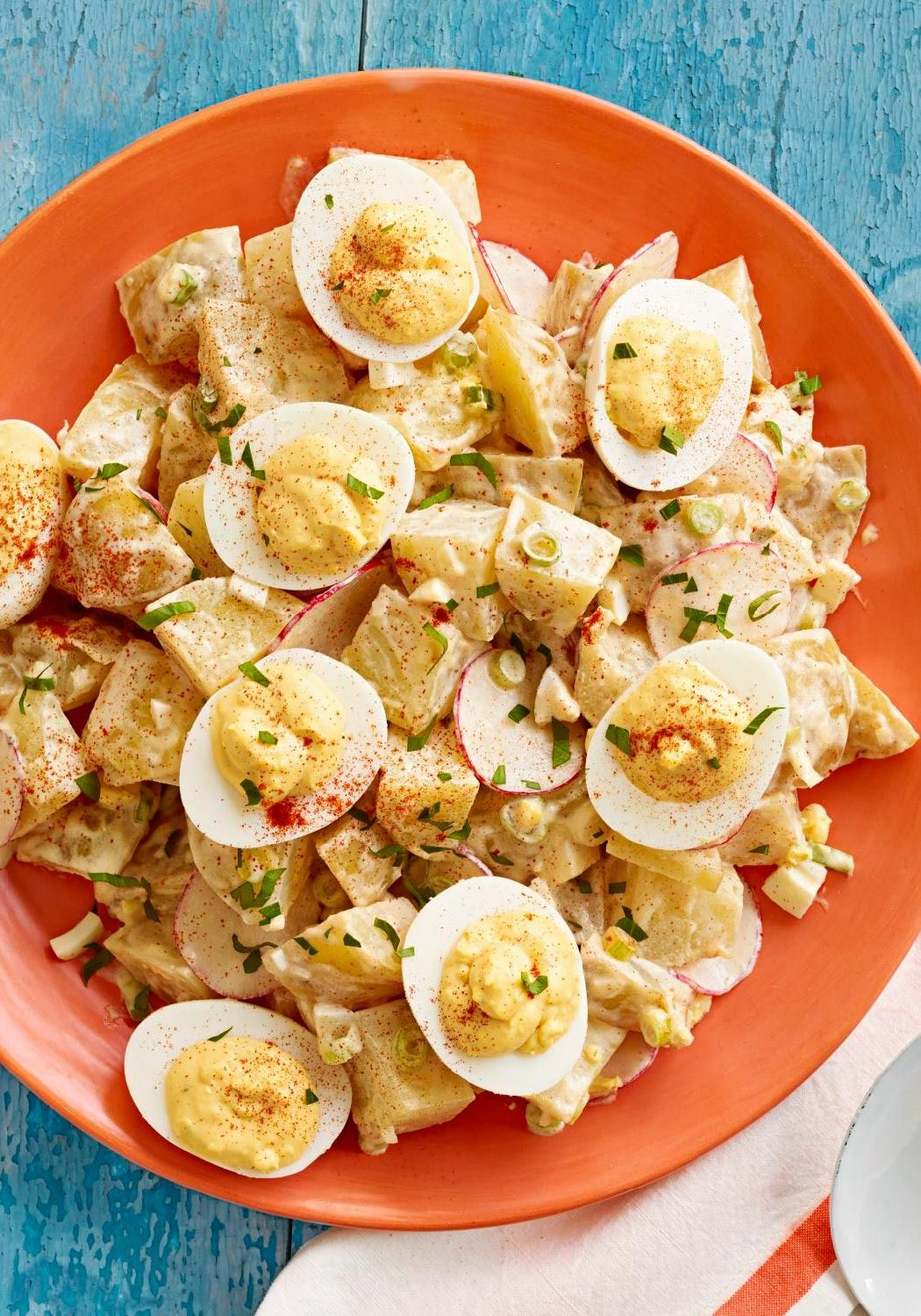 Deviled Egg Potato Salad – We've taken two potluck and picnic favorites—deviled eggs and potato salad—and made one creamy, flavorful salad that's sure to please the crowd.