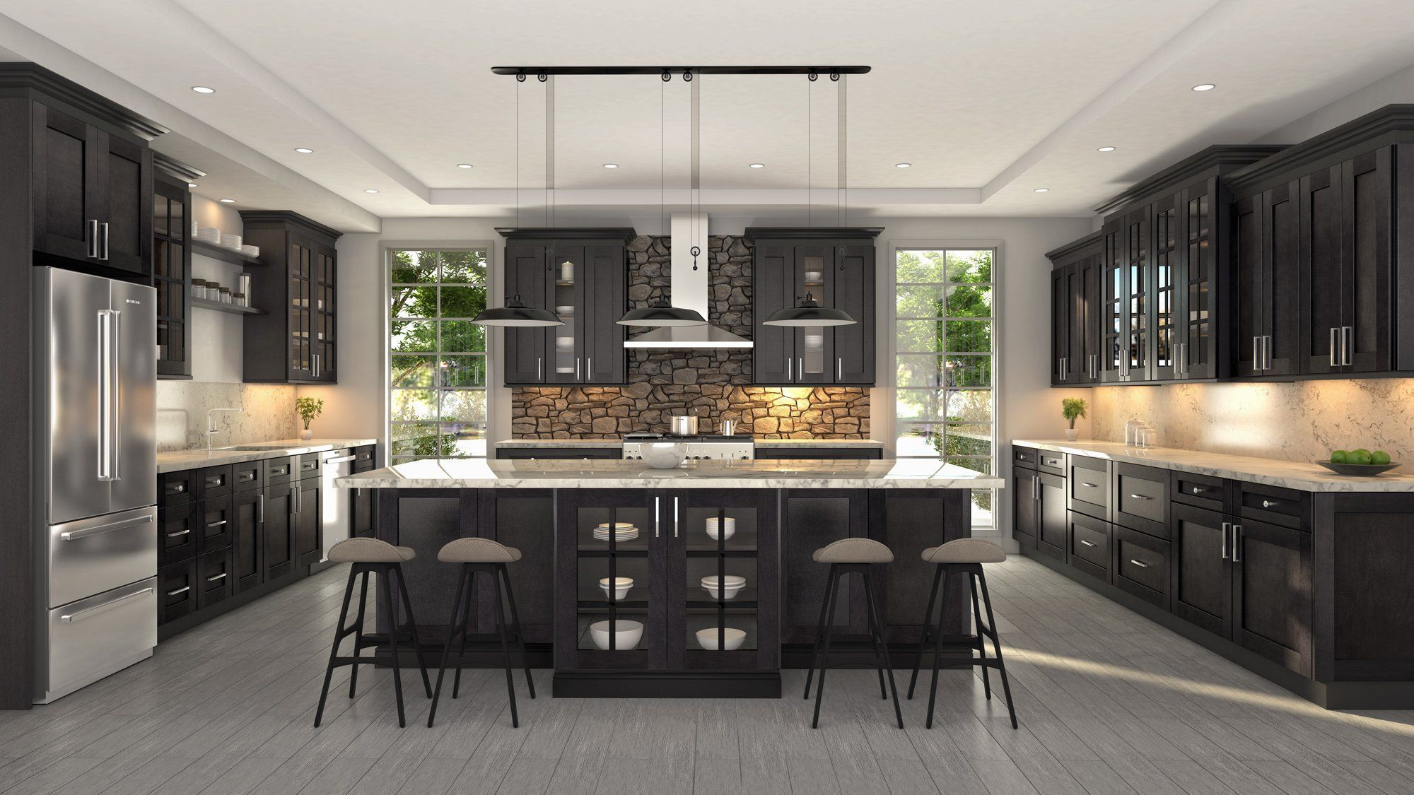 Dover Shale Design By Cubitac Cabinetry Is Elegant And Simple It Features A Dark And Deep Assembled Kitchen Cabinets Ready Made Kitchen Cabinets Urban Kitchen