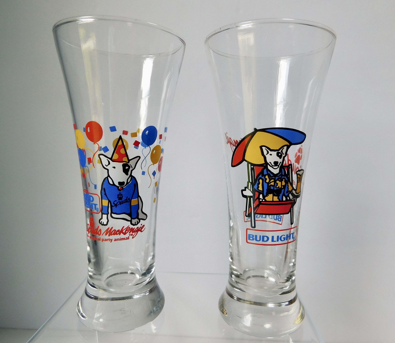 Vintage 1987 Bud Light Spuds Mackenzie Party Animal Beer Glasses Budweiser