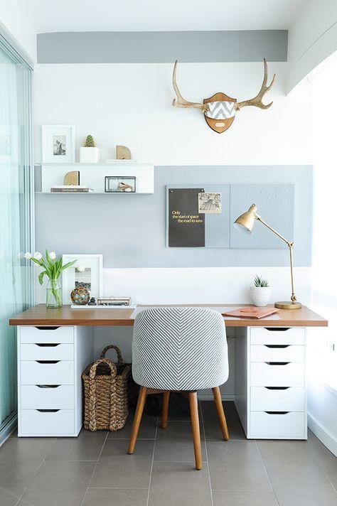 Beautiful Scandinavian Inspired Home Office With A Light Blue Wall, A  Wooden Desk, A