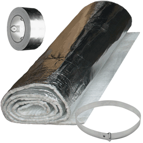 Mi Flexwrap 10m Kit 10m Blanket 20 Bands 12m Tape 125mm Or 150mm 10m Kit Of Mi Fluewrap Blanket Suitable For Insulating Flue Lin Liner Band Insulation