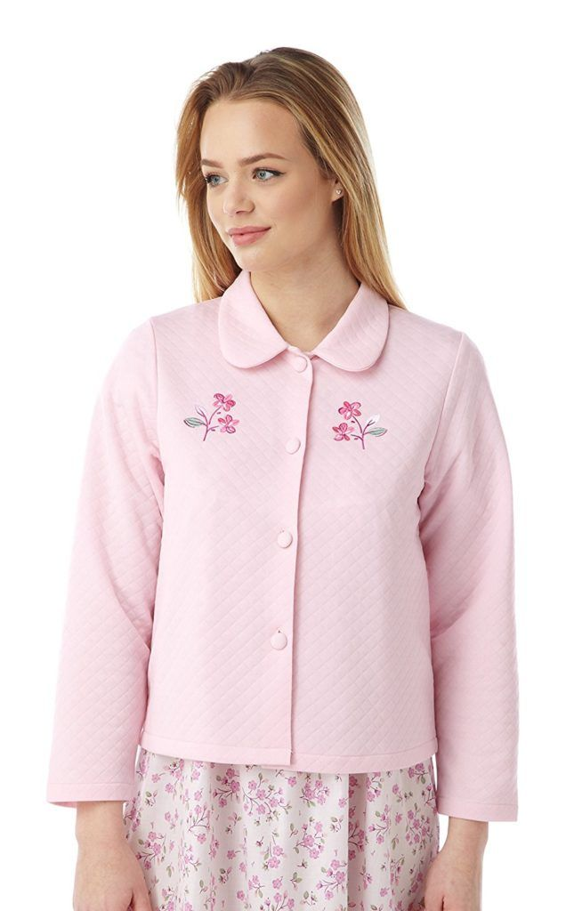 Ladies Lightweight Quilted Button Bed Jacket With Embroidery By