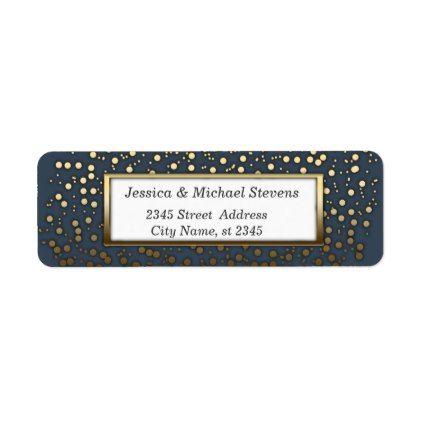 Elegant modern navy/gold confetti wedding label - holiday card diy
