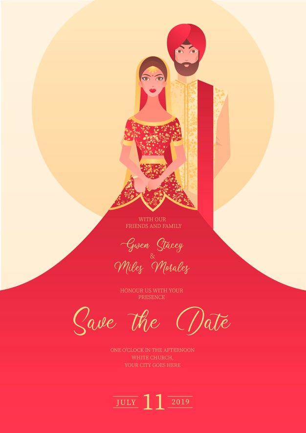 download indian wedding invitation with characters for