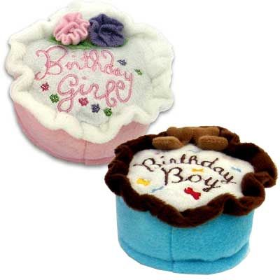Squeaky Small Birthday Cake Plush Dog Toy