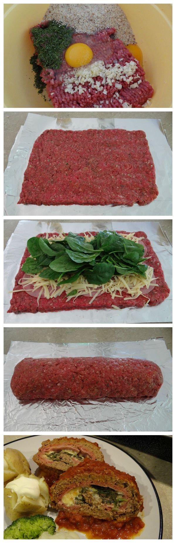 Rollos Essen rollo de carne molida con espinacas queso jamón huevo especias pan
