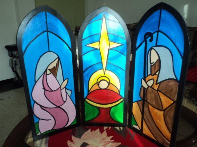 Pesebre. Sagrada Familia. Pintura en madera. Painting on wood ...