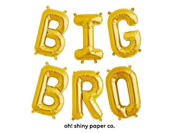 big bro letter balloons gold foil mylar letters baby announcement boy